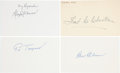 Autographs:Index Cards, 1950's Pittsburgh Pirates Hall of Famers Signed Index Cards Lot of 4....