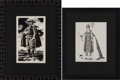 """Autographs:Artists, José Cisneros. Two Original Pen and Ink Drawings, including:Spanish Gentleman. 7.75"""" x 12.375"""" (sight), matted and ...(Total: 2 Items)"""