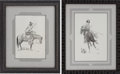 "Autographs:Artists, José Cisneros. Two Original Pen and Ink Drawings, including: Rider from the State of Coahuila-c. 1840. 9.5"" x 13.75""... (Total: 2 Items)"