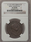 Colonials, Undated 2PENCE Rosa Americana Twopence, Label VF30 NGC. Martin 2-B,W-1322, R.6....