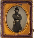 Photography:Ambrotypes, James F. Randlett Ambrotype, Las Cuevas War-Related, showing aknees-up view of Randlett in uniform standing before the came...