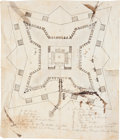 "Autographs:Military Figures, Mier Expedition: Plan of the Prison of Perote. One page, 8"" x 9.5"", [ca. 1845]. A detailed hand-drawn map of the Vera Cr..."