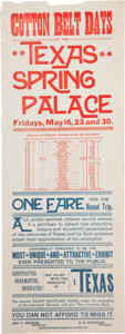 "Miscellaneous:Ephemera, ""Cotton Belt Days [at the] Texas Spring Palace""Poster (1889) in red and blue ink, 9"" x 24.25"". ..."