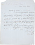 """Autographs:Non-American, Benito Juarez Autograph Letter Signed, one page, 8.25"""" x 10.5"""",December 22, 1855. In Spanish (untranslated), Juarez writes ..."""