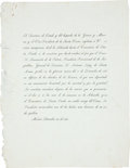 Miscellaneous:Ephemera, [Antonio Lopez de Santa Anna]. Printed Invitation to Attend theBurial of Santa Anna's Foot. One page, with integral blank, ...