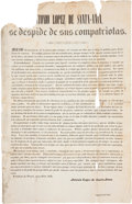 "Miscellaneous:Broadside, Antonio Lopez de Santa Anna Farewell Broadside. Single oversizedsheet, 12/75"" x 20"", Fortaleza de Perote, May 26, 1845. ..."