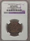 Colonials, 1787 1C Fugio Cent, STATES UNITED, Raised Rim--EnvironmentalDamage--NGC Details. Fine. Newman 19-Z, W-6975, R.5....