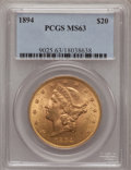 Liberty Double Eagles: , 1894 $20 MS63 PCGS. PCGS Population (942/93). NGC Census:(1245/124). Mintage: 1,368,990. Numismedia Wsl. Price forproblem...