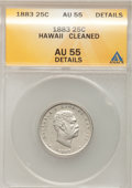 Coins of Hawaii: , 1883 25C Hawaii Quarter--Cleaned--ANACS. AU55 Details. NGC Census: (44/804). PCGS Population (85/1169). Mintage: 500,000. ...