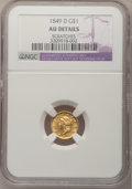 Gold Dollars, 1849-D G$1 --Scratches--NGC Details. AU. Variety 1-B....
