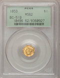 California Fractional Gold, 1853 $1 Liberty Octagonal 1 Dollar, BG-519, Low R.4, MS62 PCGS....