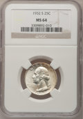 Washington Quarters, 1932-S 25C MS64 NGC....