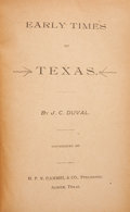 Books:First Editions, John C. Duval. Early Times in Texas....