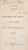 Books:Non-fiction, Laws of the Republic of Texas, In Two Volumes, Volume IIBound With Laws of the Republic of Texas, Passed the Fi...