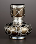 Silver Holloware, American:Vases, AN AUSTRIAN GLASS BUD VASE WITH SILVER OVERLAY. Glass attributed toGlasfabrik Johann Loetz Witwe, Klostermuehle, Austria, c...