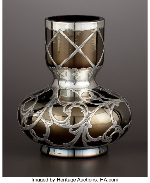 An Austrian Glass Bud Vase With Silver Overlay Glass Attributed