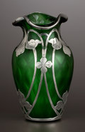 Silver Holloware, American:Vases, AN AMERICAN QUILTED GLASS VASE WITH SILVER OVERLAY . Attributed toSteuben Glass, Corning, New York, silver by La Pierre Mfg...