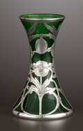 Silver Holloware, American:Vases, AN AMERICAN GLASS VASE WITH SILVER OVERLAY . Glass maker unknown;silver by Alvin Corporation, Providence, Rhode Island, cir...