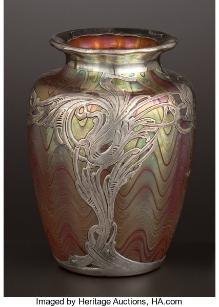 An Austrian Glass Vase With Silver Overlay Glass Attributed Lot