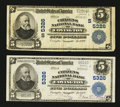 National Bank Notes:Virginia, Covington, VA - $5 1902 Plain Back Fr. 607 The Citizens NB Ch. #(S)5326; Two Examples.. ... (Total: 2 notes)