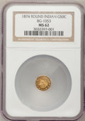 California Fractional Gold: , 1874 50C Indian Round 50 Cents, BG-1053, High R.5, MS62 NGC. NGCCensus: (2/1). PCGS Population (4/18). (#10882)...