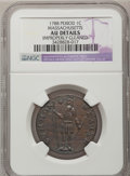 Colonials, 1788 1C Massachusetts Cent, Period--Improperly Cleaned--NGC Details. AU. Ryder 4-G, W-6230, High R.4....
