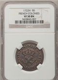 Colonials, 1722/1-H 9DEN French Colonies Copper Sou VF30 NGC. W-11835....