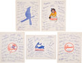 Baseball Collectibles:Others, 1940's Traveler's International Club Autograph Sheets Lot of 5....