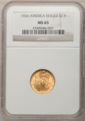 Commemorative Gold, 1926 $2 1/2 America Sesquicentennial MS65 NGC. NGC Census: (935/7).PCGS Population (1740/122). Mintage: 46,019. Numismedia...