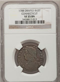 Colonials, 1788 COPPER Connecticut Copper, Draped Bust Left VF35 NGC. Miller15.1-L.1, W-4585, R.4....