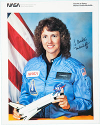 Space Shuttle Challenger (STS-51-L): Christa McAuliffe Signed Launch Invitation and Color NA