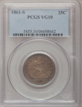 Seated Quarters: , 1861-S 25C VG10 PCGS. PCGS Population (4/29). NGC Census: (0/17).Mintage: 96,000. Numismedia Wsl. Price for problem free N...