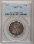 Bust Quarters: , 1822 25C VF20 PCGS. PCGS Population (5/76). NGC Census: (4/70).Mintage: 64,080. Numismedia Wsl. Price for problem free NGC...