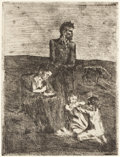 Prints:European Modern, PABLO PICASSO (Spanish, 1881-1973). Les pauvres (from La Suitedes Saltimbanques), 1905. Etching. 9-1/8 x 7 inches (23.2...