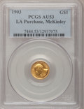 Commemorative Gold: , 1903 G$1 Louisiana Purchase/McKinley AU53 PCGS. PCGS Population(9/2969). NGC Census: (1/1870). Mintage: 17,500. Numismedia...
