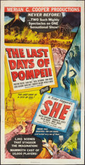 "Movie Posters:Adventure, The Last Days of Pompeii/She Combo (RKO, R-1948). Three Sheet (41""X 81""). Adventure.. ..."