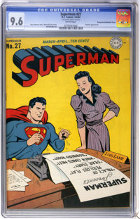 Superman #27 Double Cover - Pennsylvania pedigree (DC, 1944) CGC NM+ 9.6 White pages