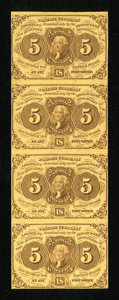 Fractional Currency:First Issue, Fr. 1230 5c First Issue Vertical Strip of Four New. ...