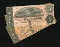 Confederate Notes:1864 Issues, T69 $5 1864 Three Examples.. . ... (Total: 3 notes)