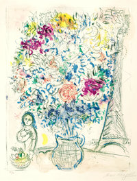MARC CHAGALL (Belorussian, 1887-1985) Bouquet with Eiffel Tower, 1958 Lithograph in colors 24 x 1