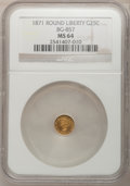 California Fractional Gold: , 1871 25C Liberty Round 25 Cents, BG-857, High R.4, MS64 NGC. NGCCensus: (1/1). PCGS Population (7/0). (#10718)...