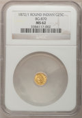 California Fractional Gold: , 1872/1 25C Indian Round 25 Cents, BG-870, R.3, MS62 NGC. NGCCensus: (9/32). PCGS Population (24/166). (#10731)...