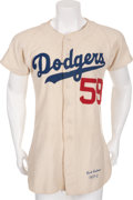 Baseball Collectibles:Uniforms, 1952 Carl Erskine Game Worn Brooklyn Dodgers Jersey....