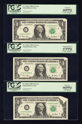 Error Notes:Attached Tabs, Fr. 1926-C $1 2001 Federal Reserve Notes. Seven ConsecutiveExamples. PCGS Superb Gem New 67PPQ (3) & Gem New 66PPQ (4)..... (Total: 7 notes)