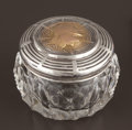 Silver Holloware, American:Vanity, AN AMERICAN CUT GLASS JAR WITH SILVER, SILVER GILT AND GOLDMEDALLION LID . George W. Shiebler & Co., New York, New York,...