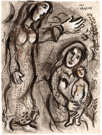 MARC CHAGALL (Belorussian, 1887-1985) Sarah and Hagar, 1956 Colored chalks, ink wash, pen and brush