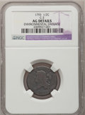Half Cents, 1793 1/2 C --Environmental Damage--NGC Details. AG. C-3, B-3,R.3....