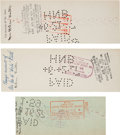 Autographs:Checks, 1927 Mrs. Babe (Helen) Ruth Signed Checks (3) & Unsigned Photographs (3)....