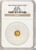 California Fractional Gold, 1881 25C Indian Round 25 Cents, BG-887, R.3, MS66 Prooflike NGC....