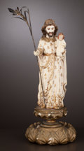 Decorative Arts, Continental:Other , A SPANISH COLONIAL IVORY FIGURE . Maker unknown, probably Manila,Philippines, circa 1860. Unmarked. 11 inches high (27.9 cm...(Total: 2 Items)